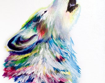 Colorful Wolf Howling Modern Acrylic Painting on Canvas