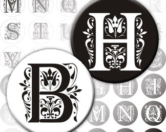 Vintage Ornate Initials Black and white Alphabet Letters digital collage sheet 1 inch circles (190) Buy 3 - get 1 free