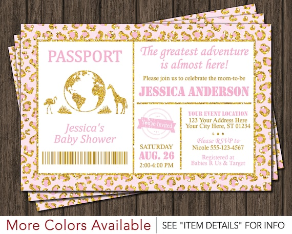Safari passport baby shower invitation baby pink and gold like this item filmwisefo Image collections