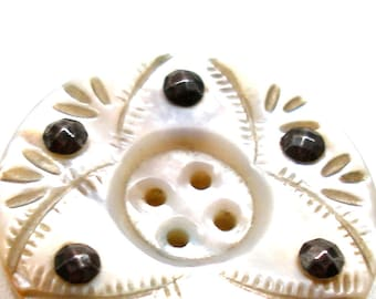 "1800s Antique cut steel BUTTON, Victorian mother-of-pearl with cut steel facets,  1.25""."