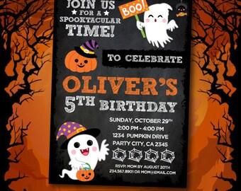 Halloween Birthday Invitation, Halloween Party, Trick or treat Invitation, Costume party invitation, Halloween Invites, 2 options, DIGITAL