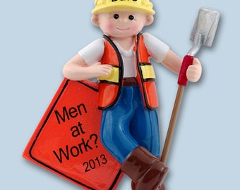 Giggle Gang CONSTRUCTION WORKER  Hand Painted RESIN  Personalized Christmas Ornament