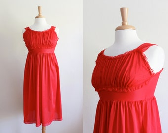 Vintage 1950s Red Empire Waist Ruffle Nightgown