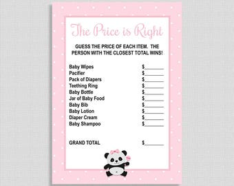Pink The Price is Right Game, Pink Panda Printable Baby Shower Game, Baby Girl Shower Game, INSTANT DOWNLOAD