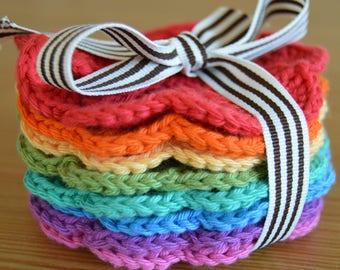 Rainbow Crochet Coasters (Set of 8)
