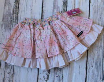 Valentine's Day Pink Love Twirl Skirt made from Create Kids Couture Pattern, Girl's pink floral skirt, size 3t