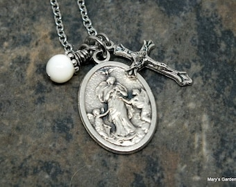 Mary, Untier of Knots, Medal Necklace with Mother of Pearl and Crucifix Charms; Saint Necklace; Religious Necklace; Catholic Jewelry