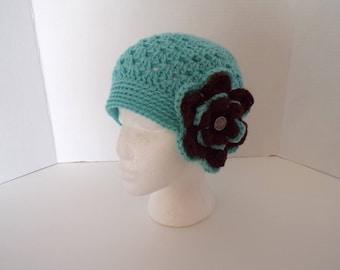 vintage style flapper hat, cloche, women's beanie, handmade crochet hat