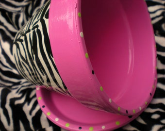 Zebra Print - Flower Pot - Large Six Inch