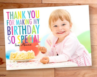 Kids Birthday Thank You, Thank You Photo Cards, kids thank you, Custom Photo Thank You Card, Birthday Thank You, Rainbow, Big Block Letters