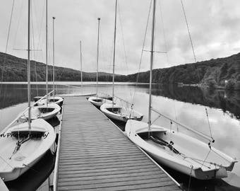 Black and White of Sailboats by dock on Lake Photograph - lake house photography - Calming prints - JYRadin Photography - b/w images