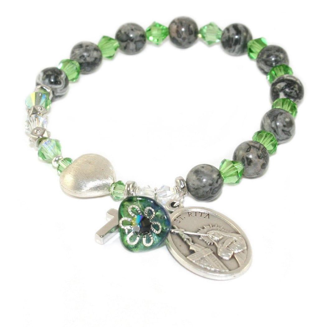 Patron Saint Rosary Bracelet Swarovski Crystals With Agate # Muebles Easy Rosario