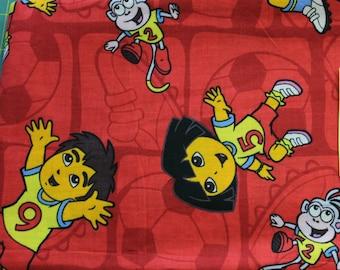 Dora & Diego Soccer 100% cotton fabric Viacom Int.
