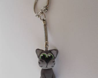 Keychain cat made of cold porcelain