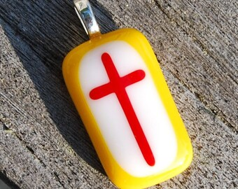 SALE Cross Pendant Red and Golden Yellow Fused Glass Pendant - Christian Gift - FSU