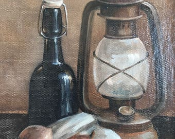 Still life with a lantern: Original Oil Painting on Canvas Panel, Wall Art, Canvas Art, Modern Painting
