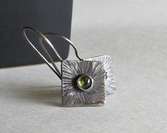 Peridot Earrings with Textured Sunburst Pattern - 25th Anniversary - Birthday Gift - Textured Silver Earrings - August Birthstone