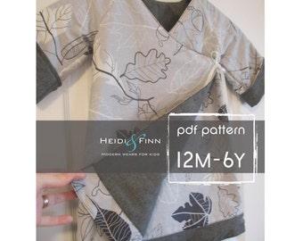 Sweet Wrap Reversible Dress pattern and tutorial 12m-6T kimono style EASY SEW