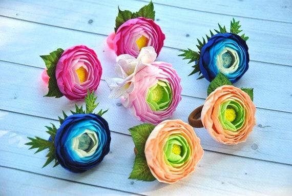 Haar-Clip Ranunkeln Haargummi Blumenmädchen Clip weiße Blumen