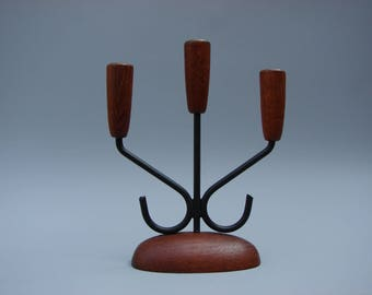 Scandinavian design Teak candle holder Danish modern candleholder Luthje