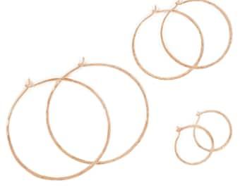 Rose Gold Simple Hammered Hoops- polished hoops, rose gold-filled hoops, gold-filled, gold hoops, classic hoops, everyday hoops