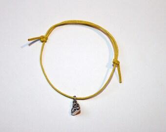silver buddha charm on waxed cotton cord adjustable friendship bracelet