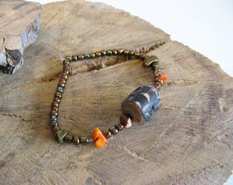 Rustic Wood and Bronze Beaded Stretch Bracelet, Rustic Wooden Bead and Natural Stone Bracelet, Unisex Jewelry