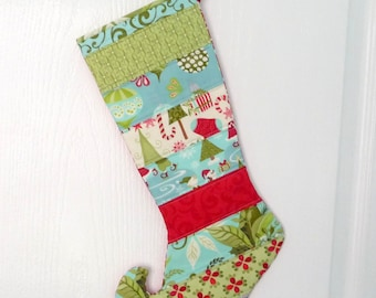 Elf Christmas Stocking Quilted Modern Stripe - Ready to Ship - Moda 12 Days of Christmas Fabric