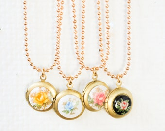 Gilrs Locket Necklace, Small locket necklace, holiday jewelry gift, mommy and me necklace,flower girl gift, gift for girls