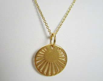 24k Gold Vermeil Sun Rays Necklace, Gold Sun Necklace, 14k Gold Filled, Layering Necklace, Minimalist, Gold Jewelry, Sun Jewelry, Sun Charm