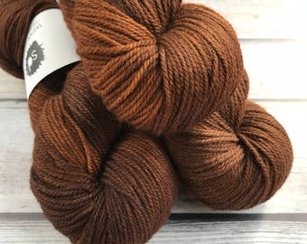 Polwarth Silk DK by Skeinny Dipping in colorway Caramelly Goolishiousness