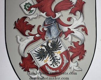 Coat of Arms knight shield, steel medieval knight shield - custom hand painted