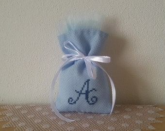 Bags for baptism confetti embroidered cross stitch fabric aida colored with initial