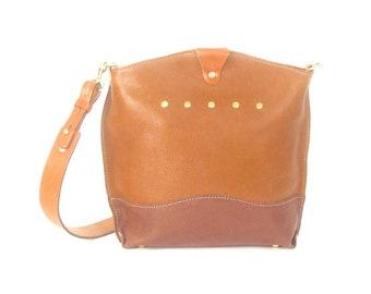 Brown Leather Shoulder Bag - CAROLINA Handbag