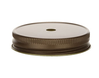 12 pcs Antique Bronze Mason Jar Lid with Straw Hole for Regular Mouth Mason Jars