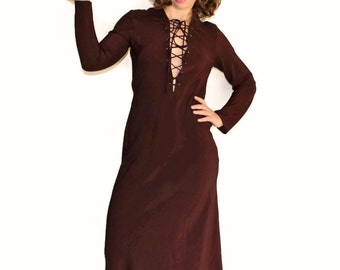 Vintage Boho Dress. Couture Maxi Dress by Future Ozbek. Brown Halloween Witch. Made in Italy. Size Medium.