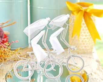 LGBT Wedding Cake Topper, Mrs and Mrs Silver Mountain Wedding Bikes with Silver Wheels, Handmade Wedding Cake Topper