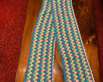 Crocheted Girls/Womans Winter Scarf Multi colored