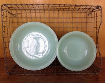 Set Of Two Vintage Jadeite Ribbed Bowls