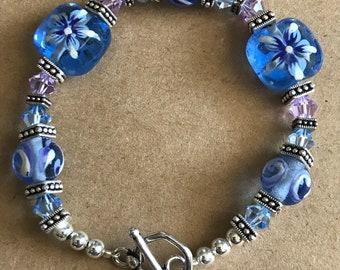 Lavender & Blue Swarovski and Glass Flower Beaded Bracelet