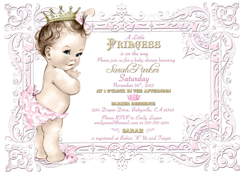 Vintage baby shower invitation for girl princess crown zoom filmwisefo Images