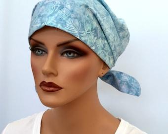 Sandra Scarf, A Women's Surgical Scrub Cap, Cancer Headwear, Chemo Head Scarf, Alopecia Hat, Head Wrap, Head Cover, Hair Loss - Blue Ferns