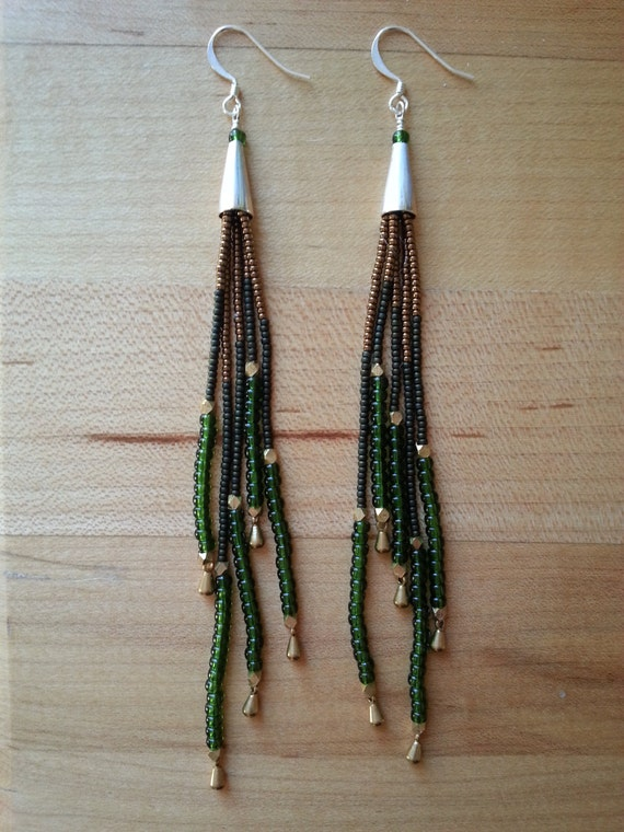 Long seed bead fringe earrings with green, olive, silver and bronze