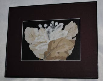 Fabric Lace Leaf Collage I Mixed Media 8x10 Framed Wall Art