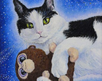Custom Pet Portrait Cat Lover Dog Portait Pet Painting Acrylic on Canvas
