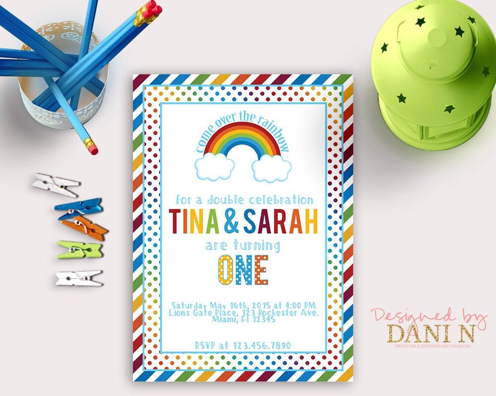 Rainbow party birthday invitation Polka dots stripes birthday