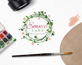 Watercolor Floral Wreath Logo, Delicate, Handmade, Feminine