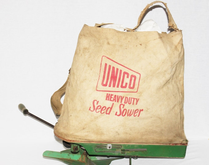 Vintage 1950s Unico Heavy Duty Seed Sower, Hand Crank Seed Broadcaster, Vintage Farm Tool