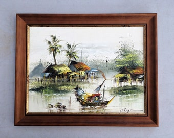 Vintage Oil Painting. South East Asian Seascape with Chinese Junks Painting. In Gilded Wooden Frame. Original Framed Art ROP358