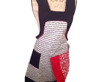 Ladies reversible black white and red apron